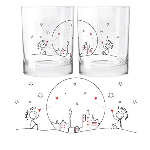 BOLDLOFT Miss Us Together His and Hers Drinking Glasses- Long Distance Relationships Gifts, Long Distance Gifts, Christmas Gifts for Couples,Valentines Gifts for Boyfriend or Girlfriend (Valentine Valentines Or)