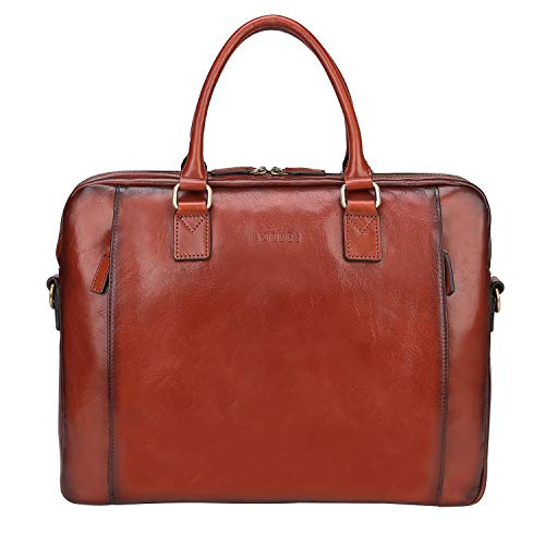 Banuce Vintage Full Grains Italian Leather Briefcase for Women Business Tote Attache Case Messenger Bag 14
