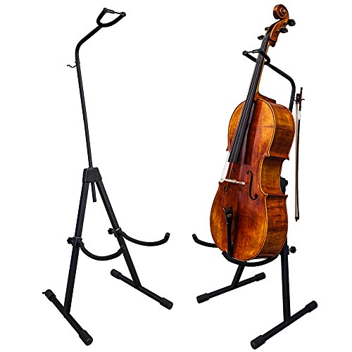 PAITITI Adjustable Foldable Stand for Cello with Hook for Bow - Black by Paititi