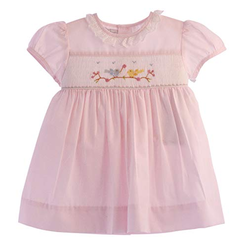 Carriage Boutiques Smocked Dress - Carriage Boutique Baby Girl Hand Smocked Classic Dress - Pink Spring Birds, 9M