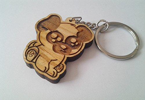 Amazon.com: Llavero, diseño de carlino, madera Llavero de ...
