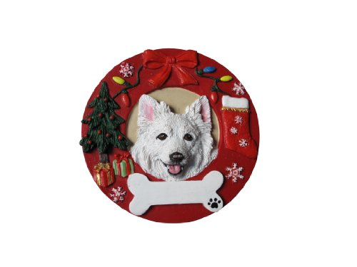 - American Eskimo Ornament Personalized and Hand Painted Measures 3.75 Inches Diameter