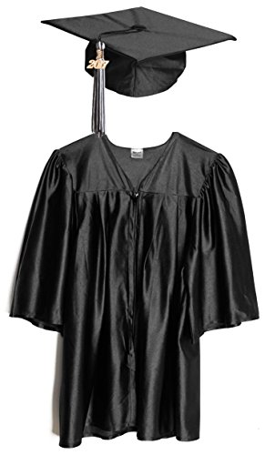 Black Shiny Preschool Cap and Gown Graduation Set - Small, Includes Tassel and (Baby Cap And Gown)
