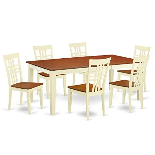 East West Furniture QULG7-BMK-W 7 Piece Dining room Set with One Quincy Dining room Table and 6 Dining Chairs in Buttermilk & Cherry Finish