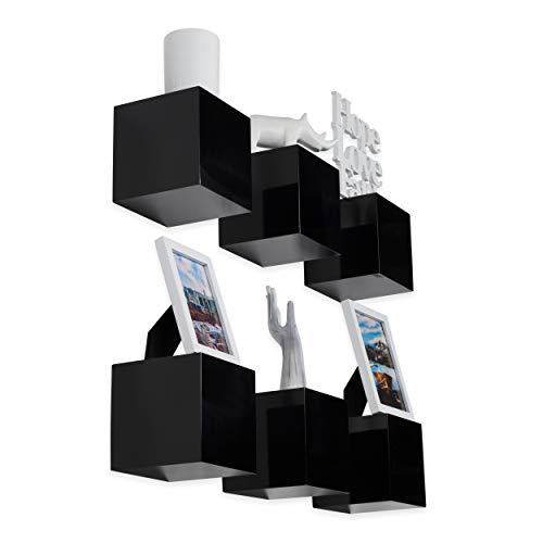 brightmaison Decorative Square Wall Cubes Floating Block Shelves Set of 6 White