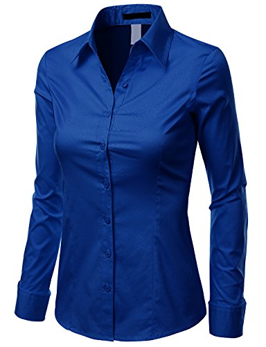 Doublju women contemporary long sleeve slim fit button for Womens button down shirts fitted