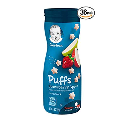 Gerber Graduates Puffs, Banana and Strawberry Apple, Pack of 36