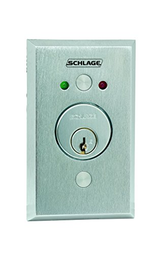 (Schlage Electronics 653-04-L2 Keyswitch, SPDT Maintained Single Direction, 2 LEDs Green and Red, Satin Chrome Finish, Less)