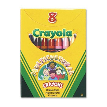 Multicultural Crayons, 8 Skin Tone Colors/Box