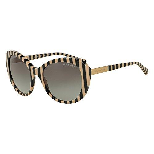 Giorgio Armani AR8064 542811 Ruled Black and Beige Full Rim Cat Eye Sunglasses