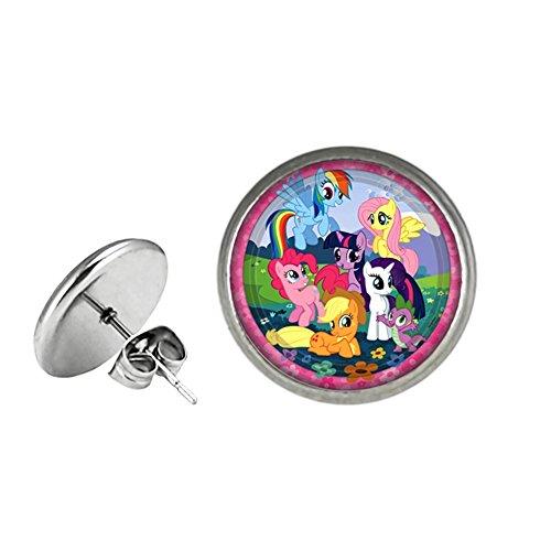 My Little Pony Post Stud Silvertone Premium Quality Earrings TV Comics Movies Cartoons