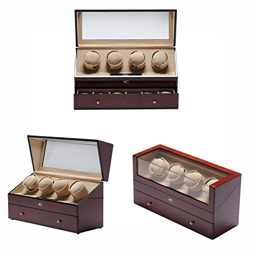 KAIHE-BOX Classic Watch Winders for 4+6 Watches for automatic Watch Winder Rotator Case Cover Storage (2 color,ww-02131) , red by KAIHE-BOX (Image #1)
