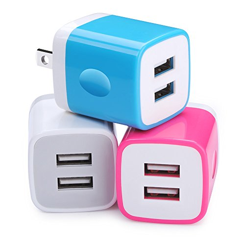 Charger Cubes, Ououdee 3-Pack Travel Adapter USB 2.1A Dual Port USB Plug Wall Charger Box Compatible iPhone 8/X/7 Plus/6s Plus, iPad, Tablet, Samsung Galaxy S9/S8 Plus/S7/S6 Edge, HTC, Sony, LG