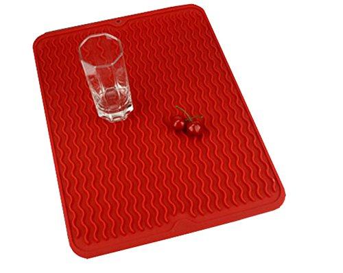 Swaroser Large Kitchen Silicone Dish Mats Heat Resistant Dry Mats 16 X 12 Inch (Black) HAOZHOU XLDISHMAT-B