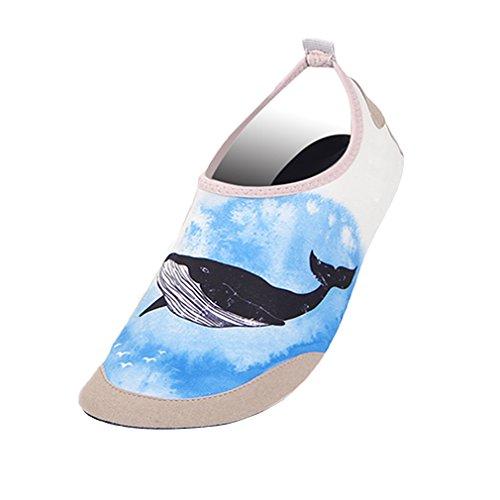 Women or Men Water Skin Shoes Quick Dry Barefoot Aqua Socks for Beach Swim Yoga Surf Sports Sea Blue Size S(1960) ()