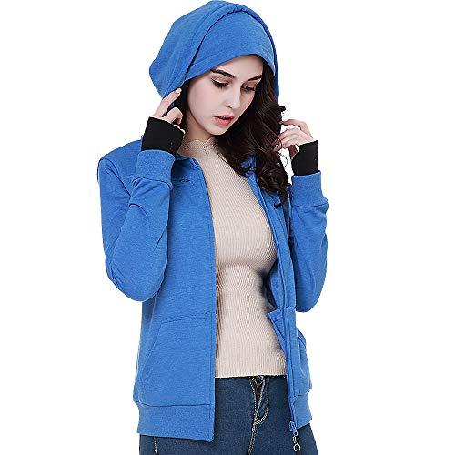 BOMBAX 10 Pocket Womens Sweatshirts Hoodies Zip Up Travel Pillow Jacket Blue (Smart Mini Ipad Jacket)
