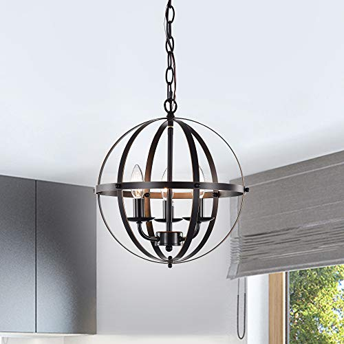 LaLuLa Chandeliers Orb Chandelier Oil Rubbed Bronze Pendant Lighting 3 Light Pendant Light Fixtures
