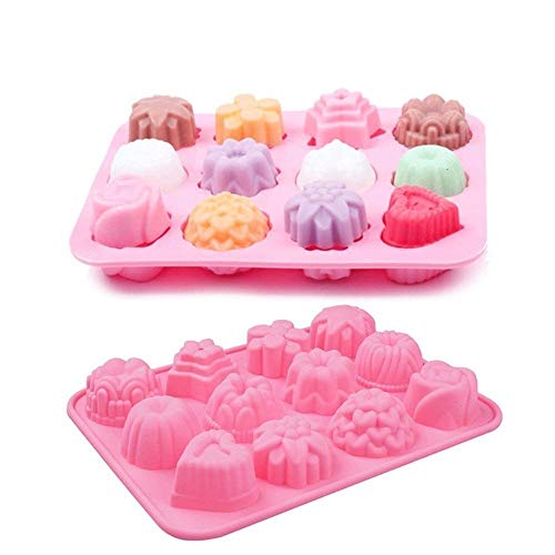 - 2 Pack 12 Cavity Silicone Flower Soap Mold Cake Bread Mold Chocolate Jelly Candy Baking Mould Muffin Pan