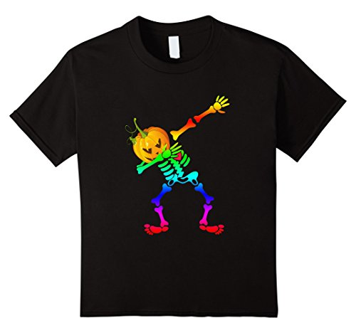 Kids LGBT dabbing skeleton halloween shirt Pumpkin head 12 Black