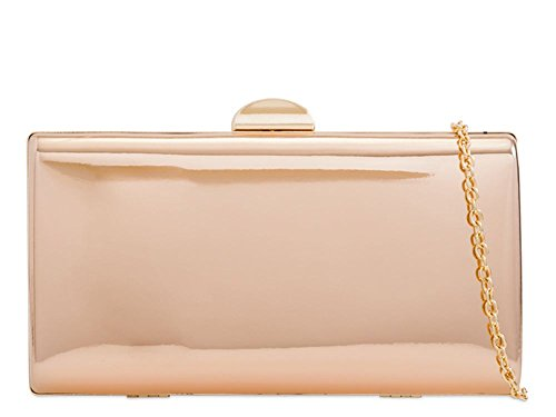 Clutch Women's Champagne Leather Patent New Faux New Women's Compact Hard R18F66