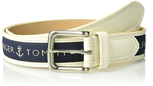 Tommy Hilfiger Men's Ribbon Inlay Belt - Ribbon Fabric Design with Single Prong Buckle, cream/medium navy, 38 ()