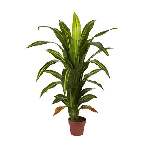 - Nearly Natural 4' Dracaena Silk Plant (Real Touch) Green