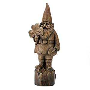 Gifts & Decor Rustic Faux Wood Folk Art Welcome Gnome Garden Statue