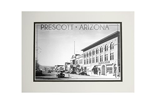Prescott, Arizona - Montezuma St, Whiskey Row (11x14 Double-Matted Art Print, Wall Decor Ready to (Prescott Park)