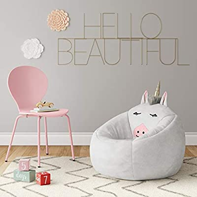 White Unicorn Children's Bean Bag Chair: Kitchen & Dining