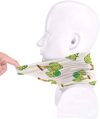 Cartoon Animal Turtle Playing Instrument ネックカバー 丸洗い可能 バンダナ 紫外線対策グッズ フェイスガード 多機能 スポーツ ターバン