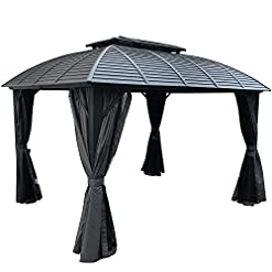 Garden and Outdoor Kozyard 10ftx12ft Hardtop Aluminum Permanent Gazebo with a Mosquito Net Sidewall and Privacy Wall (Odyssey 10ftx12ft) pergolas