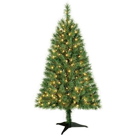 Holiday Time 4 ft Pre-Lit Indiana Spruce, Clear Lights (Christmas Tree Prelit 4ft)