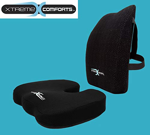 Xtreme Comforts Original Coccyx Orthopedic Memory Foam Seat Cushion with 100% Memory Foam Lumbar Cushion by Xtreme Comforts (Image #1)