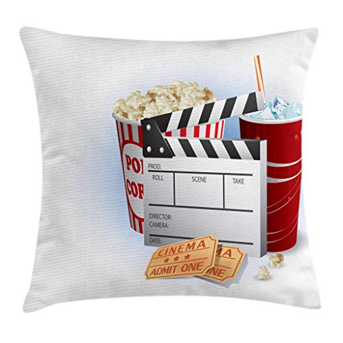 Ambesonne Movie Theater Throw Pillow Cushion Cover, Soda Tickets Fresh Popcorn and Clapper Board Blockbuster Premiere Cinema, Decorative Square Accent Pillow Case, 18 X 18 Inches, Multicolor
