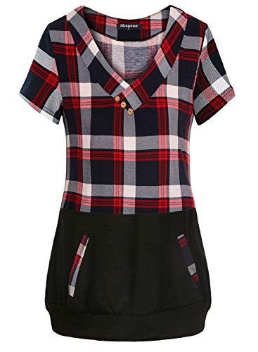 Miagooo Boutique Clothing for Women, Short Sleeve Cross V-Neck Plaid Patchwork Shirt Polyester Form Fitting Casual Simple Checked Tunic Blouse Fashion Comfy Work Tops Red Black M ()