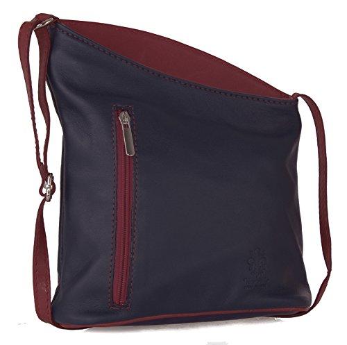 Big HandbagShop - Bolso tipo bandolera para mujer, piel italiana Navy - Red Trim