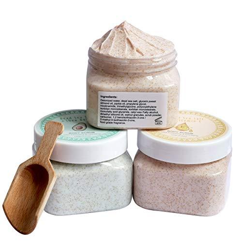 Ultra Exfoliating & Cleanse Body Scrub Gift Set, 3 Pack Natural Dead Sea Salt Body Scrub, Anti-aging & Whitening & Hydrating Body Scrub with Free Bonus Wooden Spoon