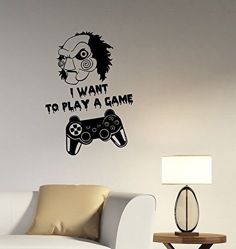 Letters Wall Decor Stickers Jigsaw I Want to Play A Game Quote Vinyl Wall Decal Gamer Gamepad Joystick Sticker Video Gaming Art Movie Decorations for Home Room Bedroom Horror Decor Ideas