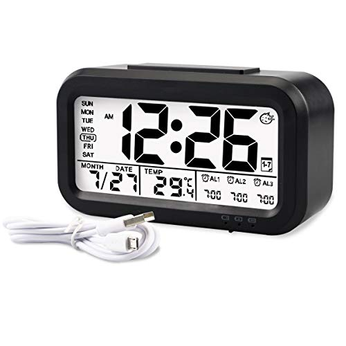 Aitey Alarm Clock, Digital Alarm Clock for Kids, Time/Date/Temperature Display, Snooze Function, 3 Alarms, Optional Weekday Mode, USB Charging (Black)