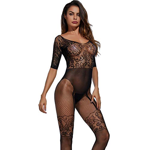QJXSAN Sexy Ladies Black Siamese Stockings, lace Transparent mesh Tight Body Tights Bodysuits (excluding T Pants) ()
