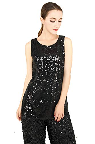 MS STYLE Women's Sleeveless Sparkle Shimmer Camisole Vest Sequin Tank Tops (Black,XX-Large)