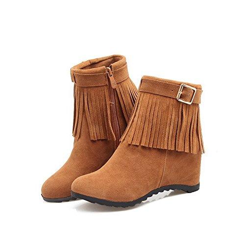 Fringed Retro Yellow AdeeSu Womens Nylon SXC02498 Buckle Boots Wedges EFvpaq