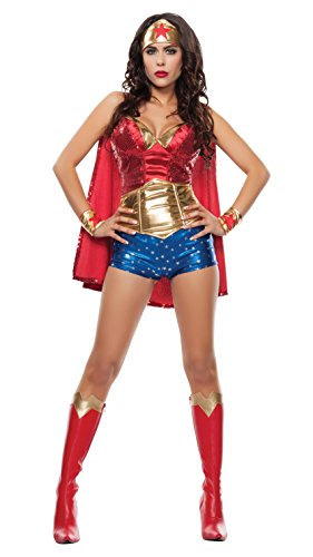 Starline Women's Wonder Lady Sexy 5 Piece Costume Set with Headpiece, Red/Gold, Medium - Sexy Wonder Women Costumes