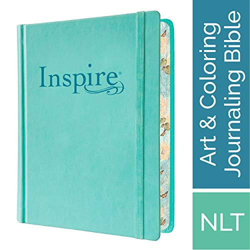 Tyndale NLT Inspire Bible (Hardcover, Aquamarine): Journaling Bible with Over 400 Illustrations to Color, Coloring Bible with Creative Journal Space - Religious Gift that Inspires Connection with -