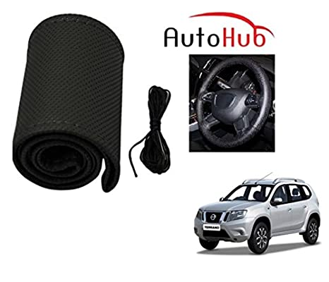 Auto Hub Premium Quality Car Steering Wheel Cover for Nissan Terrano - Black: Amazon.in: Car & Motorbike