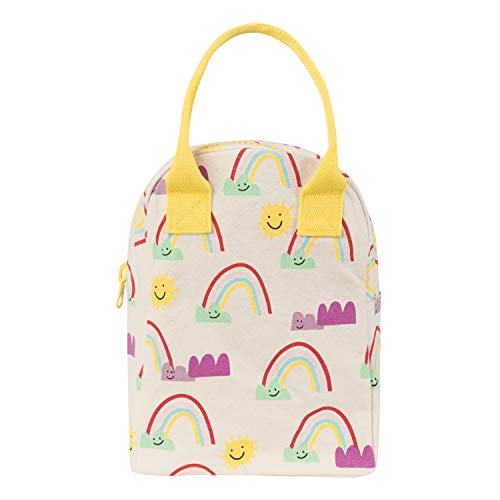 - Fluf Reusable Canvas Lunch Bag | Lunch Box for Women, Men, Kids | Organic Cotton Meal Tote with Zipper | Rainbows