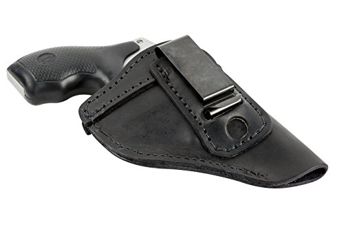 38 Special Handgun - The Defender Leather IWB Holster - Fits Most J Frame Revolvers Incl. Ruger LCR, S&W 442/642, Taurus, Charter & Most .38 Special Revolvers - Made in USA - Black - Right Handed