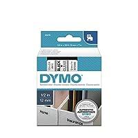 Cinta de etiquetado DYMO Standard D1 45010 (impresión en negro sobre cinta transparente, 1/2 '' W x 23 'L, 1 cartucho)