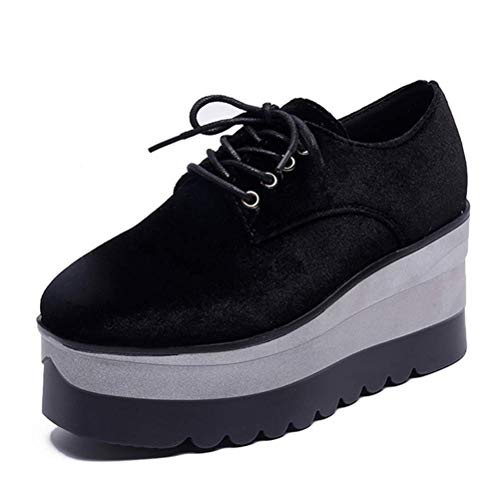 (sunmlike Women Platform Casual Shoes Women Lace-Up Flats Fashion Solid Women Shoes,Black,7.5M)