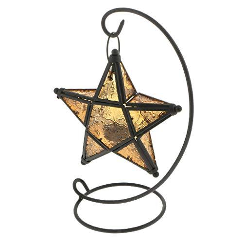 - Moroccan Star Hanging Candle Holder Tea Light Lantern Wedding Decor Yellow